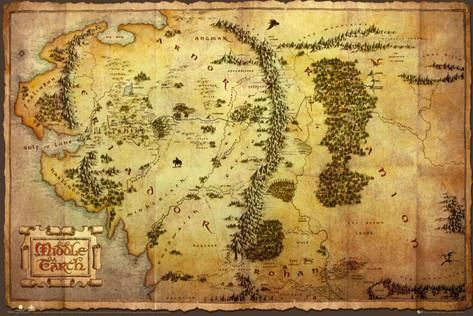 "The Hobbit An Unexpected Journey Middle Earth Map The Lord of the Rings Wall Poster Art Print Affiliate 36"" x 24"""