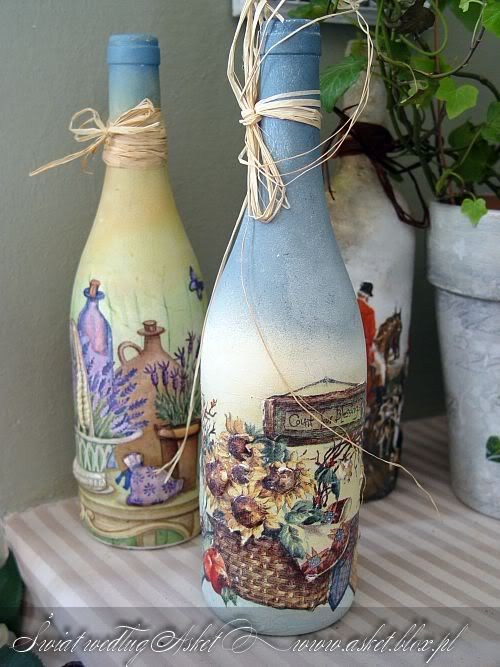 I've never thought about this before....You can actually paint and decorate wine bottles and either keep the wine in there or add something to go inside!