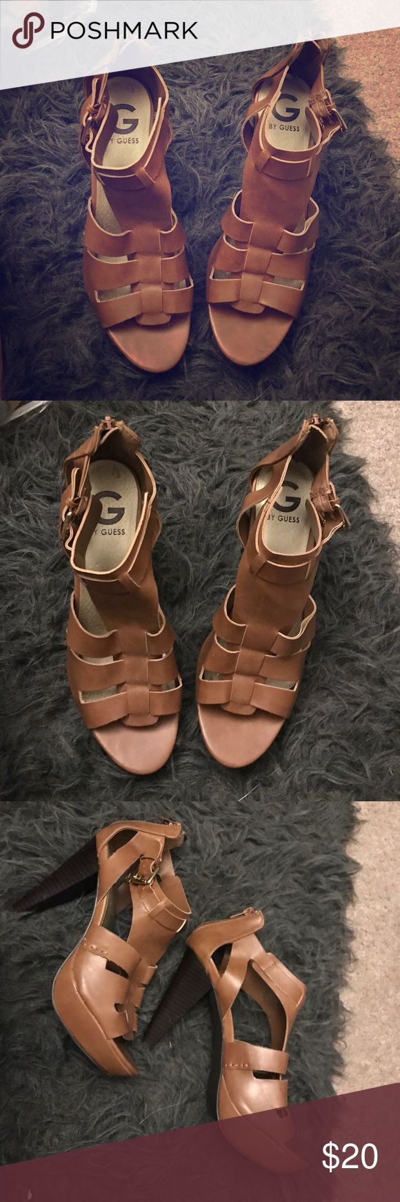 Guess Camel Heels Guess Heels, Sandals. Camel Color. Heel is about 4 inches. Zippered back. Gold Hardware and buckle strap. 7.5 women's. Worn twice. Guess Shoes Heels