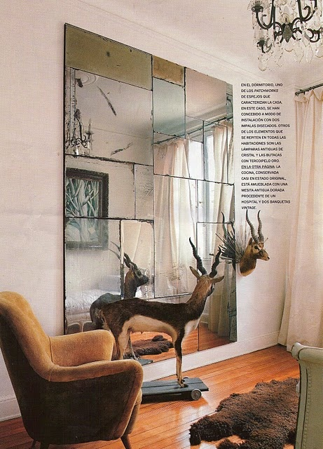 old mirrors assembled in one big piece, by antique boutique