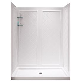 Dreamline Shower Base And Back Walls White Acrylic Wall And Floor 2-Piece Alcove Shower Kit (Common: 32-In X 60-In; Actu