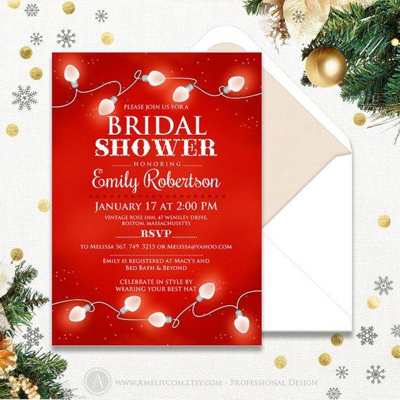 Christmas Bridal Shower Invitations Printable Winter Bridal Shower Brunch Invitation DIY Red Holiday bridal shower, Christmas Wedding Shower