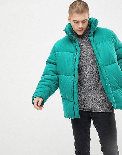 44478e6bb DESIGN oversized puffer jacket in green in 2019   Jacket   Puffer ...