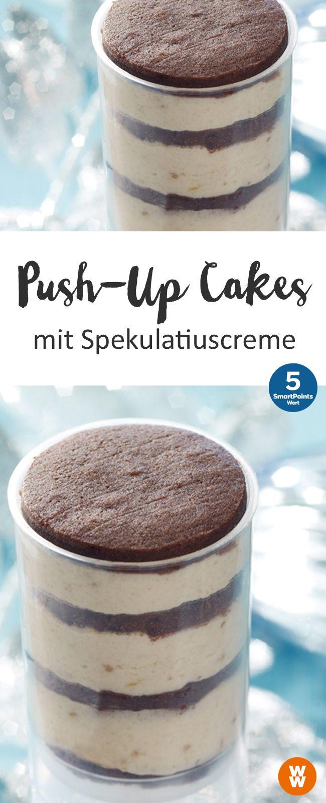 Push-Up Cakes mit Spekulatiuscreme, leckerer Kuchen im Glas, Weihnachten | Weight Watchers (Diet Recipes Sweet)