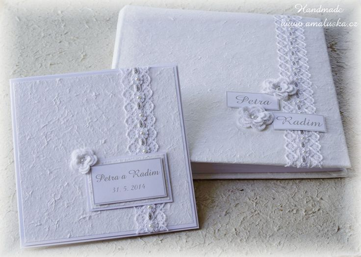 Wedding photo album and card with handmade paper and laces.