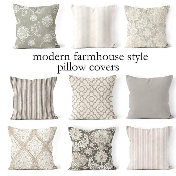 Mix And Match Pillow Covers Coordinating Neutral Designer Fabrics Tone On Tone Distressed Flora Small Throw Pillows Throw Pillows Living Room Farmhouse Pillows