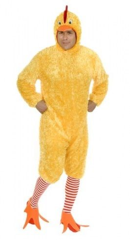 Funky Chicken Adult Animal Costume - Flap your wings and dance to the music with this Funky Chicken costume. Lots of fun for Halloween, a mascot for you event, blues night at the bar or wherever you might need a good laugh! This microfibre jumpsuit costume also comes with headpiece, shoe covers and stockings. Do the Funky Chicken! #yyc #Calgary #costume #FunkyChicken #Chicken