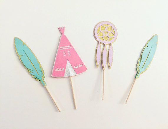 Boheemse Cupcake toppers Set van 12 Tribal partij thema Tipi Dream Catcher Cake Toppers roze lavendel Teal //Bohemian verjaardag