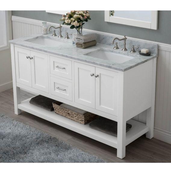 Alya Bath Wilmington 60 Inch Double Bathroom Vanity In White With
