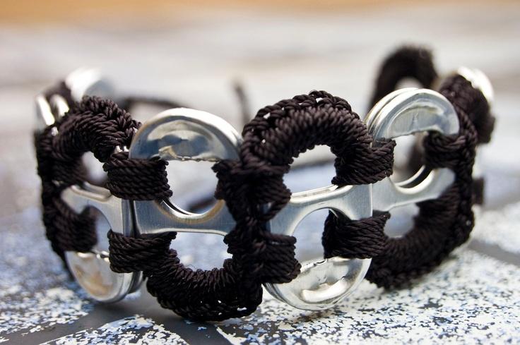 Black Pop Tab Upcycled Crochet Bracelet. $3.50, via Etsy.