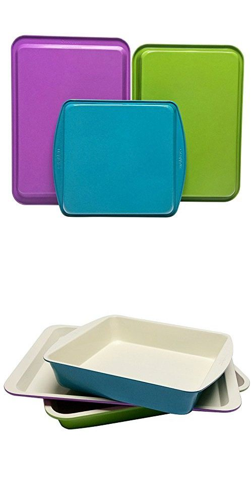 CasaWare 3pc Multi-Color and Size Baking Set (Cookie Jelly Roll / Rectangular / Square Cake Pan)