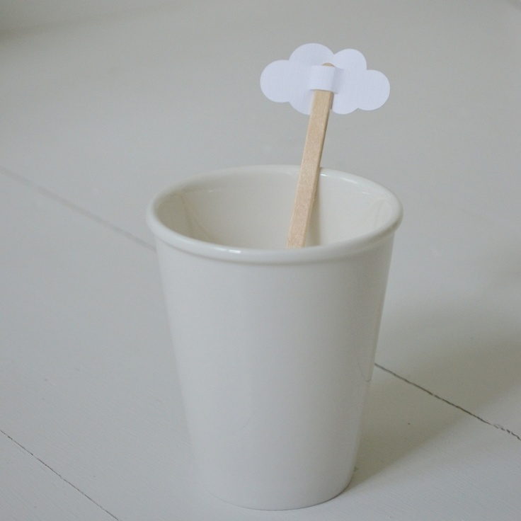 Cloud stirrers-$3.50    Stir your hot drink in style...  White card, linen texture.    approx 4.5x2 cm    Pack of 10, sold with wooden stirer    Made in New Zealand