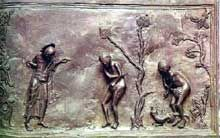 Hildesheim: la porte de Bronze de l'évêque Bernward: Adam et Eve au paradis. 1015