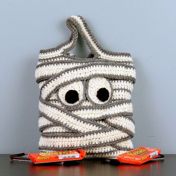 Mummy Halloween Trick-or-Treat Bag - Hand Crocheted by StitchedInADream on Etsy https://www.etsy.com/listing/245470082/mummy-halloween-trick-or-treat-bag-hand