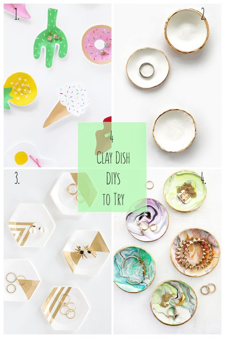 4 Clay Dish DIYs To Try: We can never have too many clay dishes to store our trinkets. Here are 4 jewelry dishes you can make - click through to make your own
