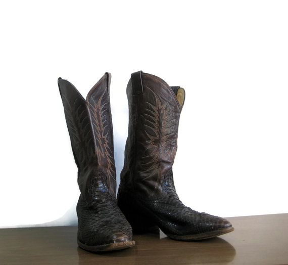 Vintage cowboy boots size 10.5 mens western boot by yourfind, $36.00