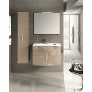 Eviva Round 31-inch Wall Mount Brown Modern Bathroom Vanity with White Integrated Porcelain Sink