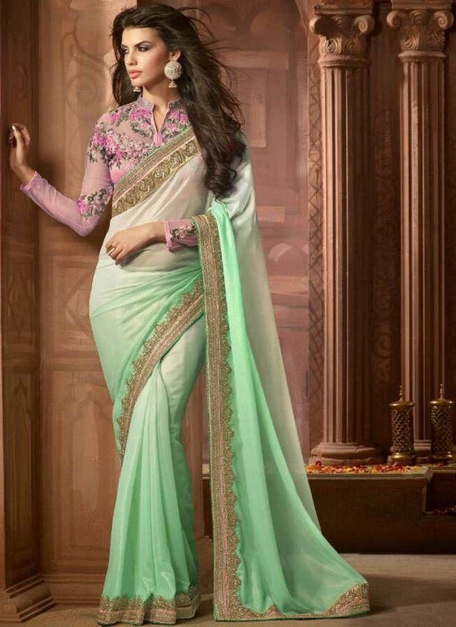 Sea Green Colour Georgette Heavy Designer Party Wear Saree