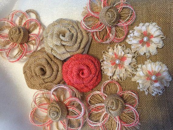 Burlap Flower Assortment Set of 10 Shabby Chic by resadavid