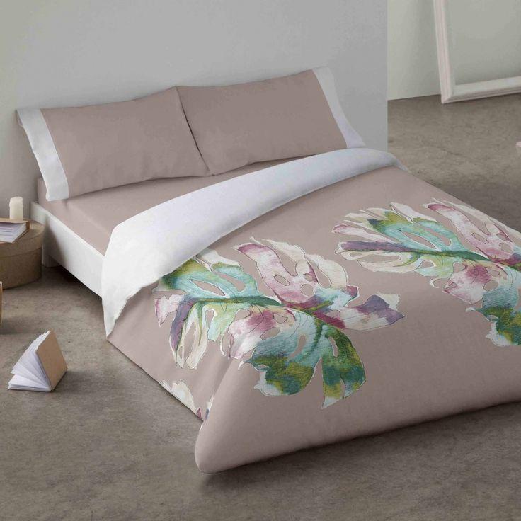 Duvet cover. Leaves. Bedroom. Bed. Decor. Green. Style.
