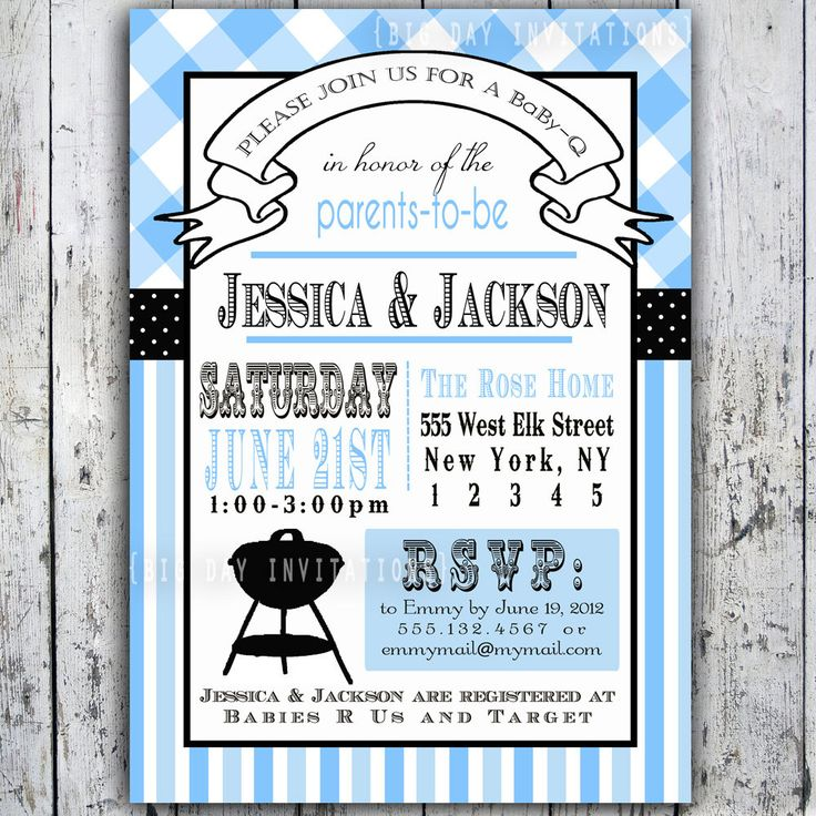 36 best backyard baby q images on pinterest   baby shower parties, Baby shower invitations