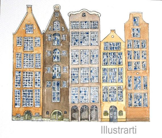 Houses Amsterdam Print From Original Watercolour by Illustrarti, $20.00