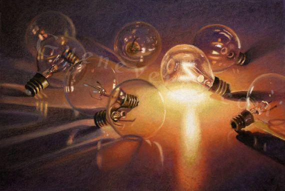 """Spontaneous Light"" by Guenevere Schwien, canvas artwork for sale, original fine art for sale, original oil paintings for sale, framed wall art, floral canvas wall art, fairy lights, Christmas lights, Christmas tree lights"