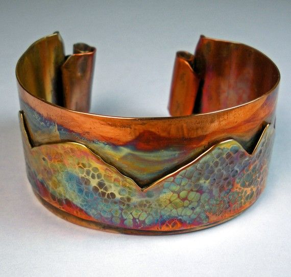 Wearable art - copper desert landscape with great patina, from Etsy