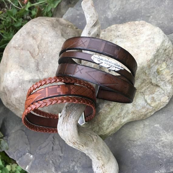 Mens Leather Bracelet Brown European Leather Jewelry for Men Wide Leather Cuff B…   – Products