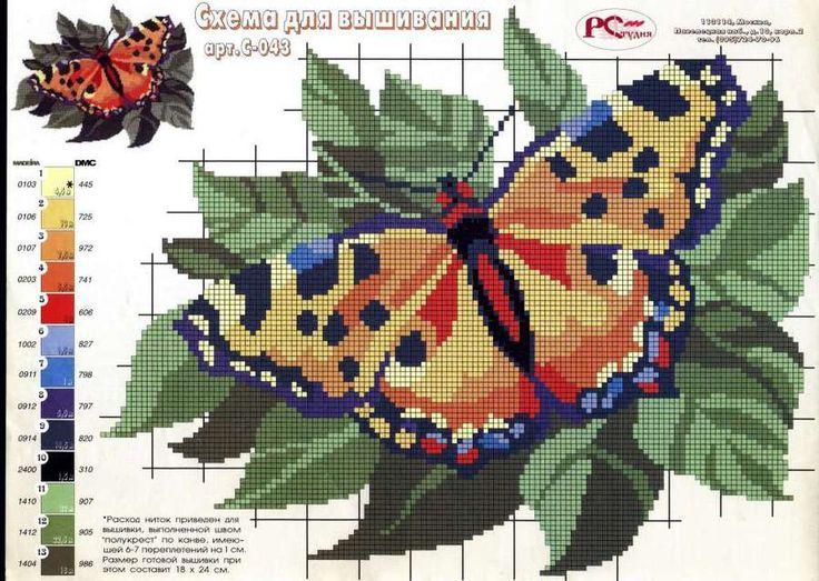 #punto cruz, #bordado, #mariposa