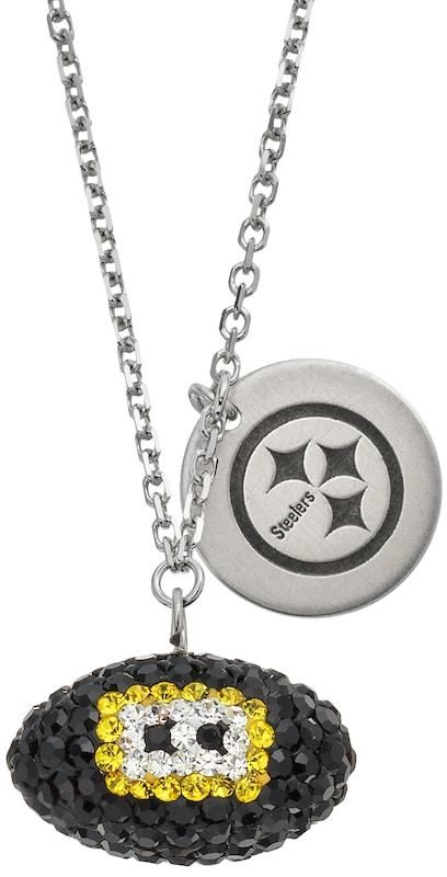 Kohl's Pittsburgh Steelers Crystal Sterling Silver Team Logo & Football Charm Necklace