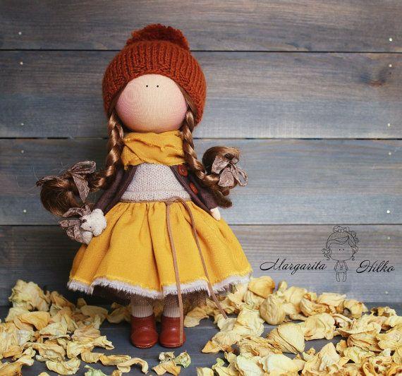 Handmade Soft doll yellow red Baby doll Tilda by AnnKirillartPlace