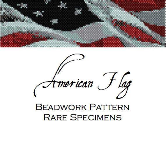 American Flag Peyote Stitch Beading Pattern by RareSpecimens