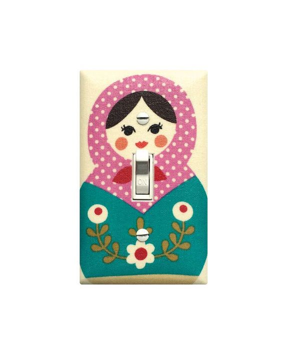 Matryoshka Doll Light Switch Plate Cover / Baby Girl Nursery Decor / Teal Polka Dot Bonnet Russian Stacking Doll Girls Room Bedroom Kitchen