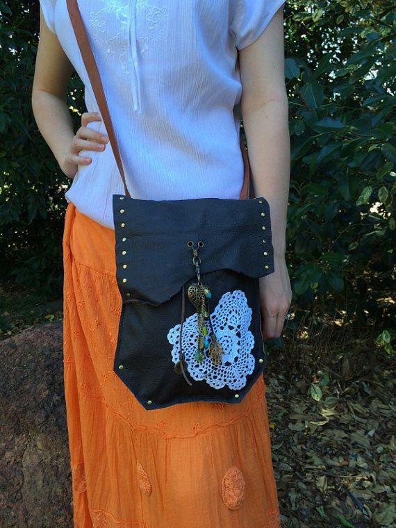 Hippie Gypsy Leather Bag with Doily & by HippieGypsybyCherie