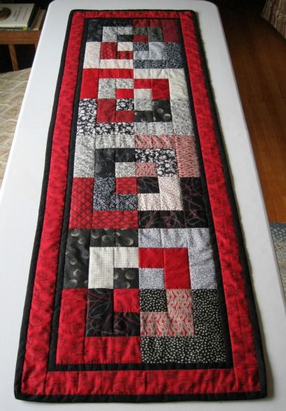 BENTO BOX TABLE RUNNER, RED, BLACK, & WHITE quilting board.com