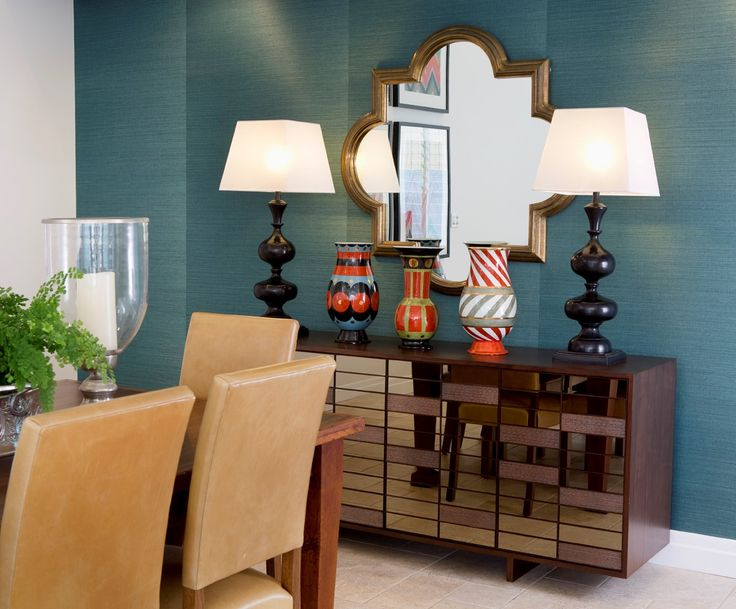 This Stunning Dining Room Features A Peacock Blue Grass Weave Wallpaper Decorative Mirror