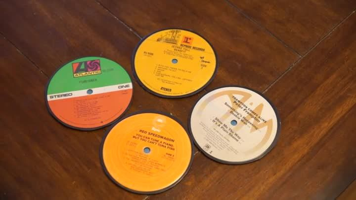 Making coasters out of vinyl records requires you to use ones that haven't been scratched. Make coasters out of vinyl records with help from an experienced crafts professional in this free video clip.