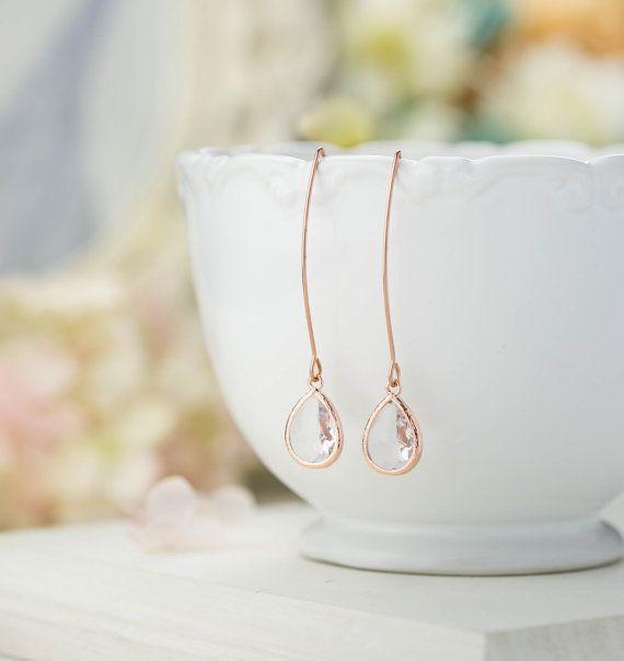 Rose Gold Bridesmaid Earrings Clear Crystal Drop by LeChaim