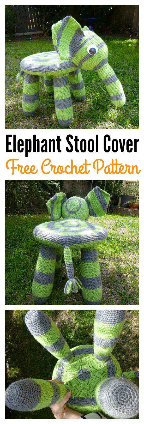Crochet Elephant Ikea Stool Cover Free Pattern