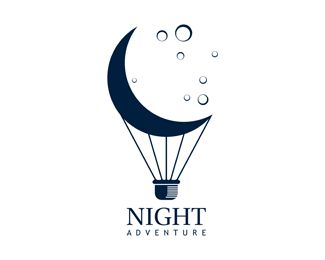 Night Adventure Logo - Logo is combination of air balloon and moon. Logo can be used for travel company, outdoor or adventure company, creative services, entertainment & media, and any related business. Price $400.00