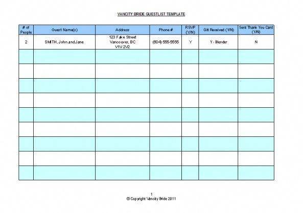 free guestlist template weddingplanningtemplates how to wedding