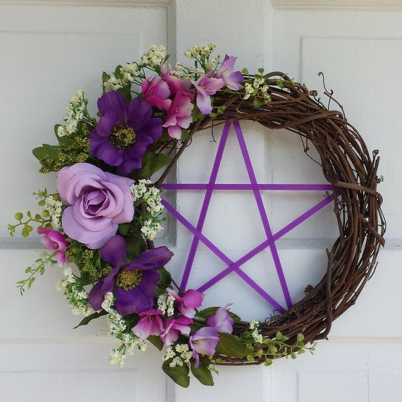 Pentacle Wreath  Spring  Wreath Pagan Wreath by TheShabbyWitch