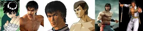 Bruce Lee in video games and cartoons. Rock Lee (Naruto), Marshall Law & Forest Law (Tekken 2), Fei Long (Street Fighter), Liu kang (Mortal Kombat) & Maxi (Soul Calibur)