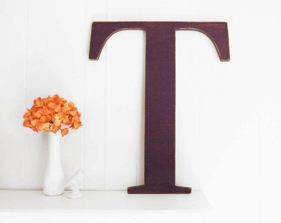 LARGE wall letter T  wooden home decor Deep Purple by OldNewAgain, $62.00