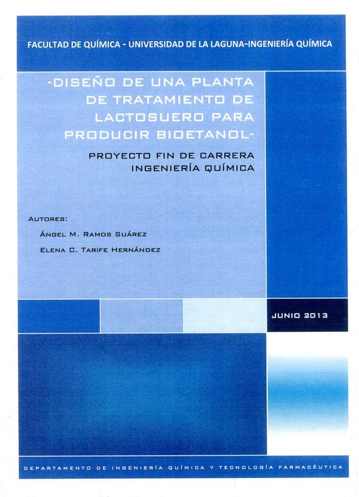 Diseño de una planta de tratamiento de lactosuero para producir bioetanol / Ángel M. Ramos Suárez, Elena C. Tarife Hernández. - La Laguna : [s. n.], 2013