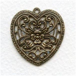 European Made Floral Heart Pendant Brass 34mm