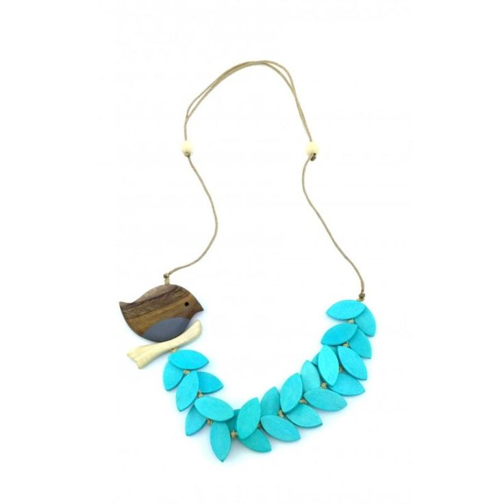 Turquoise Bird Wooden Necklace