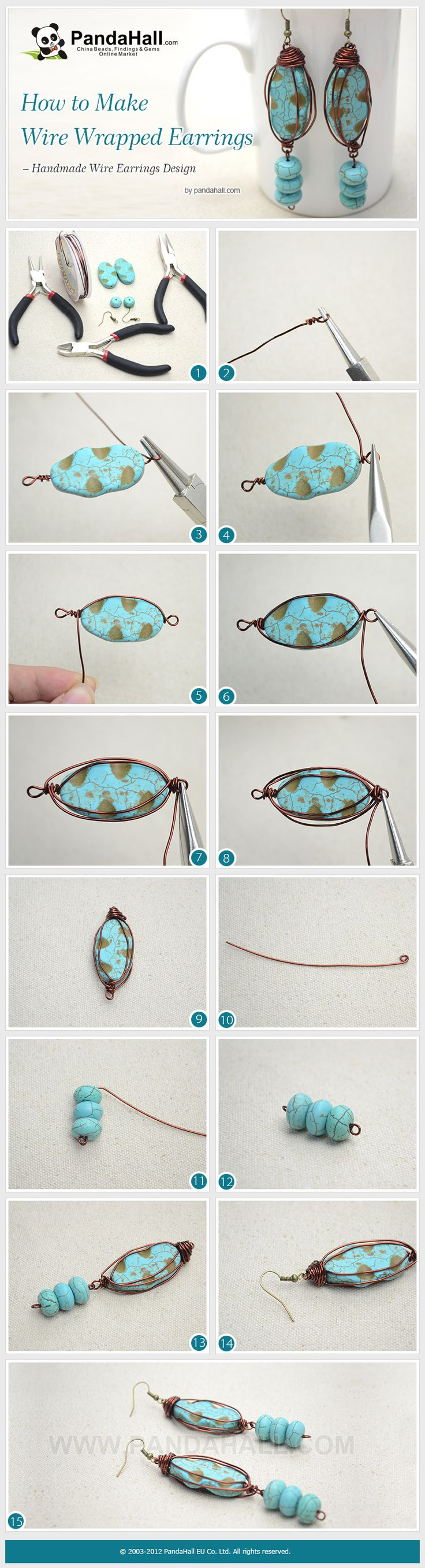 The vintage wire earring design is easy to make; in this handmade wire earring tutorial, we will teach you how to make wire wrapped earrings with copper wire and turquoise beads.