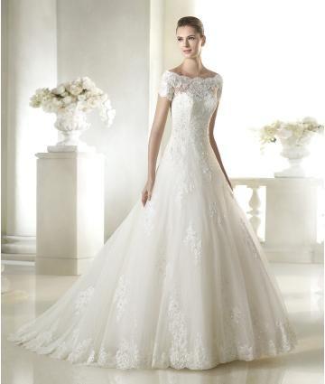 Kyrka Off-the-shoulder Kort ärm Bröllopsklänningar 2015